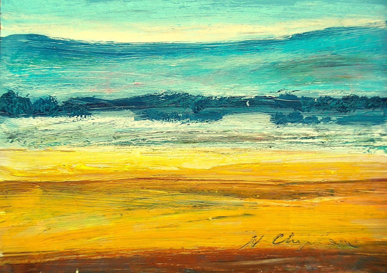 Nath Chipilova (Atelier NN art store) - Yellow field 1, 19x27cm