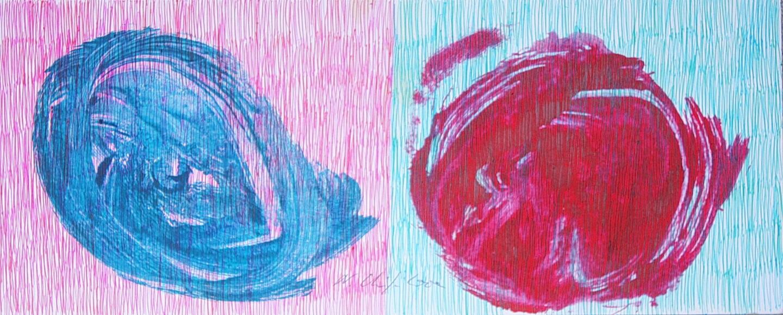 Nath Chipilova (Atelier NN art store) - Blue Red Petals 1. Tribute to Klein