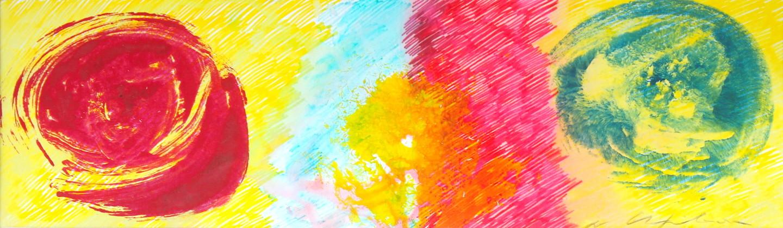 Nath Chipilova (Atelier NN art store) - Blue Red Petals Yellow Flower 1