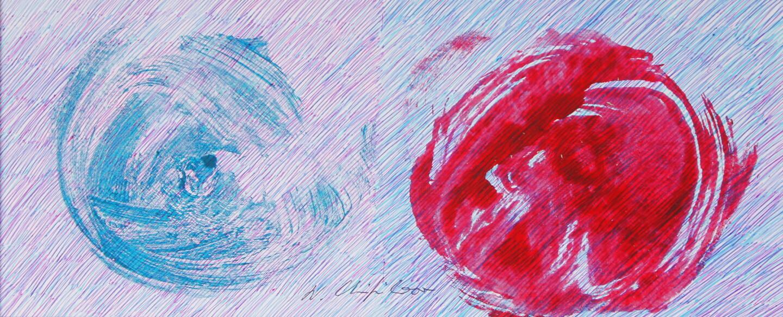 Nath Chipilova (Atelier NN art store) - Blue Red Petals 2. Tribute to Klein