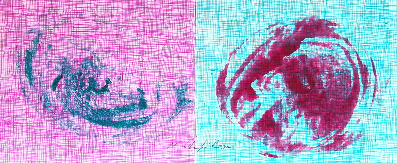 Nath Chipilova (Atelier NN art store) - Blue Red Petals 3. Tribute to Klein