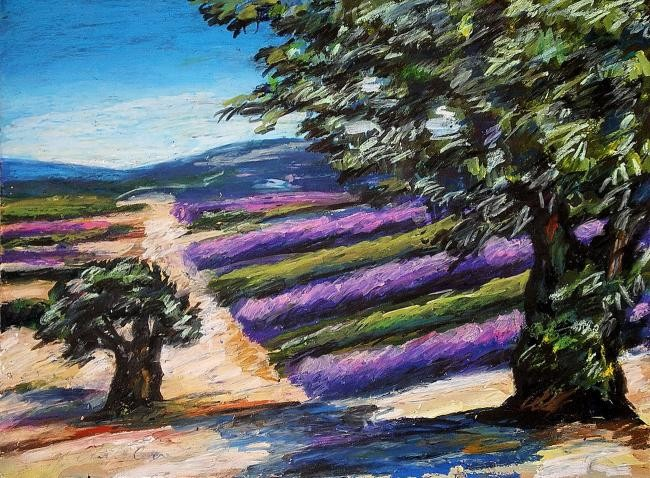 Nath Chipilova (Atelier N N art store) - Lavandes, 2 oliviers