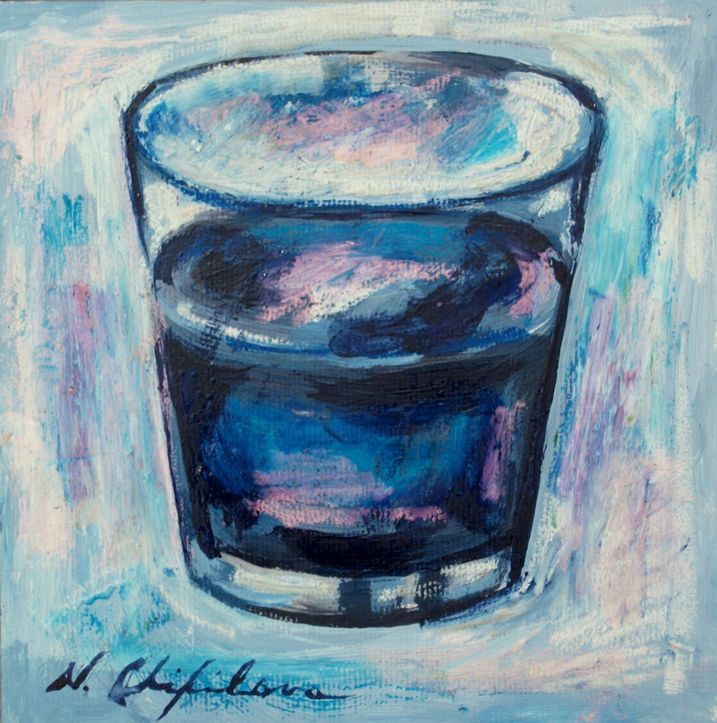 Nath Chipilova (Atelier NN art store) - Verre d'eau , 20x20 cm