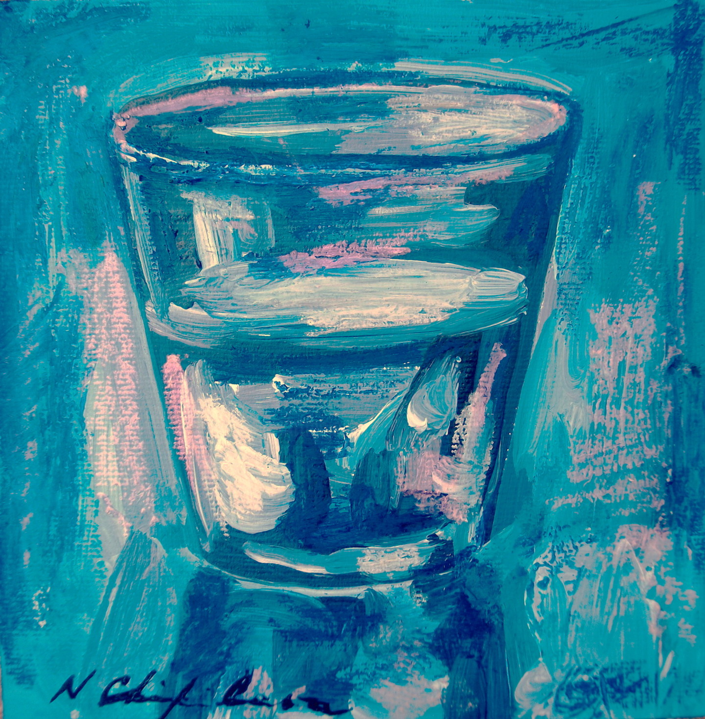 Nath Chipilova (Atelier NN art store) - Verre d'eau 2, 20x20cm