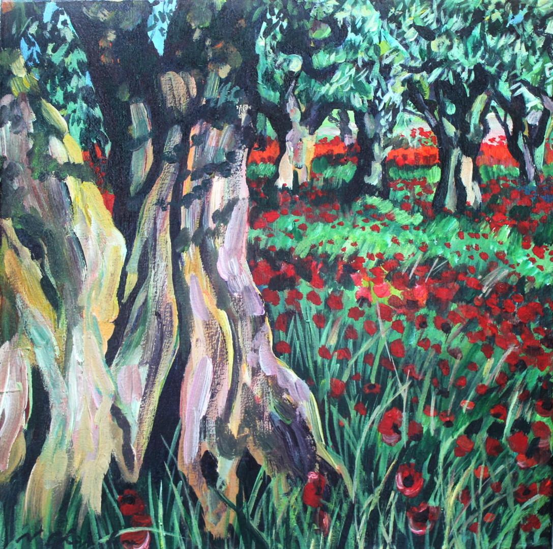 Nath Chipilova (Atelier NN art store) - Champs d'oliviers et les coquelocots