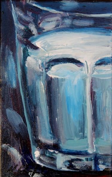 Verre de lait, fond bleu