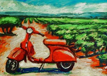 Red Vespa in a field