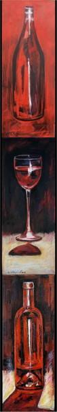 Bouteilles et verre de vin rouge