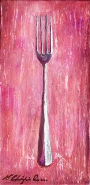 Fourchette sur fond rose
