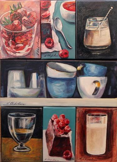 Composition de 7 peintures. Exemple de présentation